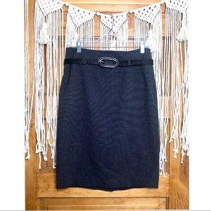 Apt. 9 Charcoal Snakeskin Belted Pencil Skirt